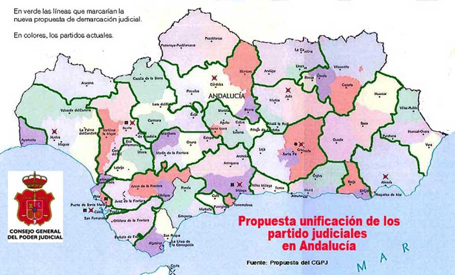 Propuesta nueva demarcación judicial en Andalucía.